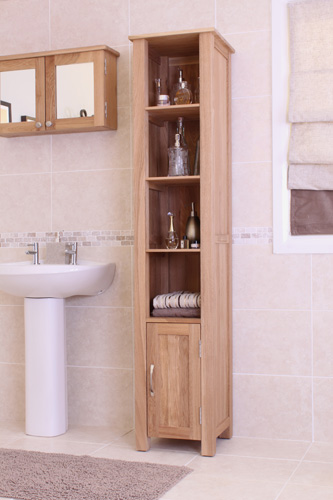 Moben Oak Open Bathroom Unit Tall
