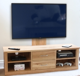 Moben Oak Mounted Widescreen Television Cabinet
