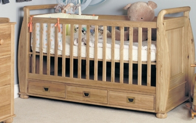 Amel Oak Baby Cot - Bed with Drawers